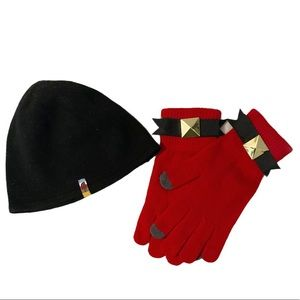 North face black hat and mud pie red gloves winter